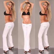 NEW SEXY SIZE 6 8 10 12 WOMENS LADIES DESIGNER LOW CUT WHITE BOOTLEG CROWN PANTS