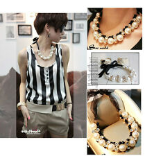 Hot Selling New Fashion Ribbon Pearl Crystal Bib Necklace A1614