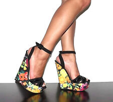 Floral Wedge Heel Platform Thin Ankle Strap Black Faux Suede Qupid Arrival-03X