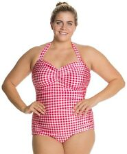 Esther Williams pinup Swim Suit one Piece vintage style 1950's 50's GINGHAM RED
