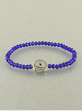 Inspirational Evil Eye Pendant Charm Mixed Crystal Stretch Braclet