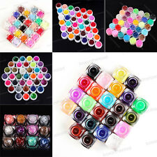 12/24/36 Colors Solid Glitter Powder UV Builder Drawing Gel Nail Art Tips Set