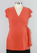 New JAPANESE WEEKEND Maternity Nursing CAREER SASH Wrap TOP $80 Orange