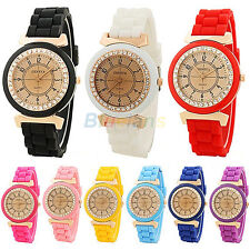 Ladies Womens Girl Geneva Silicone Retro Golden Crystal Stone Quartz Wrist Watch