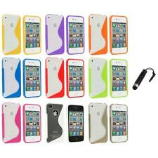 For iPhone 4S 4G 4 TPU Color Clear S-Line Rubber Skin Case Cover+Stylus Plug