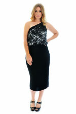 Womens Dress Ladies Plus Size Toga One Shoudler Ruffle Abstract Party Nouvelle