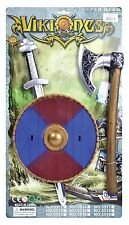 VIKING WARRIOR SWORD, SHIELD AND AXE KIT 2 COLOURS FANCY DRESS PROPS