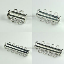 2/3/4/5-Strand Silver Plated Copper Magnetic Slide Lock Clasps Findings 30 Sets