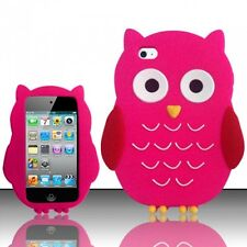 PINK CUTE OWL SOFT SILICONE CASE COVER FOR APPLE iPOD iTOUCH 4 / 4G +STYLUS PEN