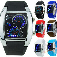 Fashion Men Blue Flash LED RPM Turbo Sports Car Meter Dial Watch Wristwatch B91U