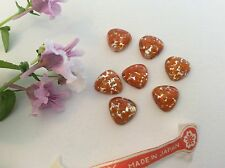 Vintage Glass Tri Flatback Cherry Brand Coral Opal Pack of 6 CRAFT Post Free UK