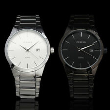 LUXURY MEN WHITE+BLACK FACE Quartz Wrist Watch STAINLESS STEEL BAND DATE SIMPLE