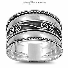 bali design sterling silver 12mm wide fashion band ring size 6 7 8 9 10 11 12