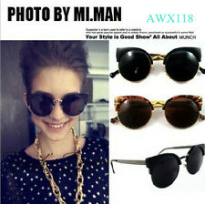 Latest Trends women Fashion Super Round Metal Circle Cat Eye Retro Sunglasses