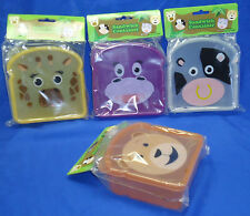 Brand New Very Cute Animal Faces Kid's Sandwich Snack Containers 4 Designs! B348