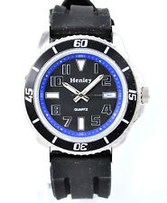 New Henley Mens 3D Minute Track Watch, Silicone Strap, Yellow, Red, Blue or Silv