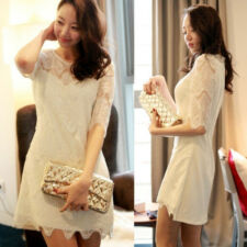 Women Lace Zipper Shift Short Sleeve Korean Sexy Mini Dress Cocktail Party New