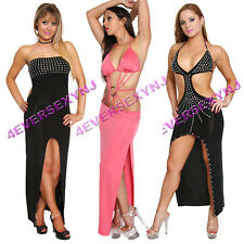 Sexy Clubwear Cocktail Evening Long Gown Dress Rhinestone Exotic Dancer Stripper