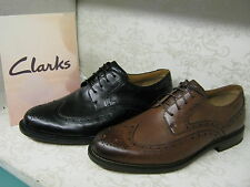 Mens Clarks Dorset Limit Leather Smart Brogue Detail Lace Up Shoes Wide Fitting