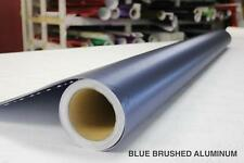 Blue Brushed Aluminum Steel Vinyl Decal Wrap with Air Release for Car Bike Boat