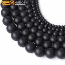 "Round Matte Black Brazil Agate Beads Jewelry Making Gemstone Strand 15"" 4mm-25mm"