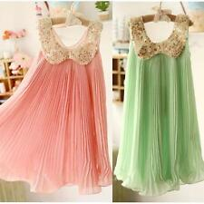 Girl Dresses Summer 2013 Pleated Chiffon One-Piece Dress With Lace Collar Child