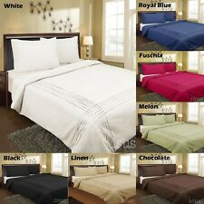 Percale Polyester Cotton Pintuck Quilt Duvet Doona Cover Set - 7 Colours - 225TC