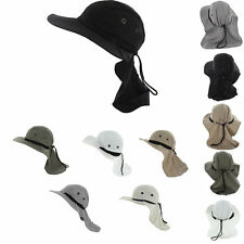 Fishing Boating Hiking Boonie Hunting Snap Hat Brim Ear Neck Cover Sun Flap Cap