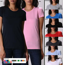 Womens Plain BASIC WAFER TEE t shirt long light Fit COTTON fashion 21 COLOURS