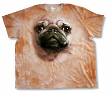 """THE MOUNTAIN """"PUG"""" DOG FACE CREAM TIE DYE T-SHIRT NEW OFFICIAL ADULT PUPPY"""