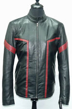 Tim Mens Biker Style Motorcycle Tron Nappa Sheep Leather Jacket with Red Stripes