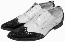 MENS PATENT GANGSTER PARTY LOAFERS LACE-UP FANCY BLACK&WHITE SHOE