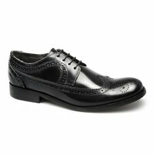 Ikon YORKE Mens Leather Brogue Lace-Up Formal Office Wedding Smart Shoes Black