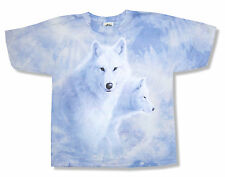 """THE MOUNTAIN """"2 WHITE WOLVES"""" PERIWINKLE TIE DYE T-SHIRT NEW OFFICIAL YOUTH WOLF"""
