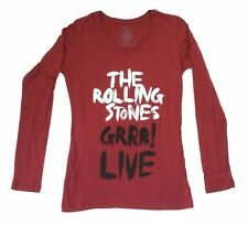 THE ROLLING STONES GRRR LIVE GIRLS JUNIORS RED L/S SHIRT NEW OFFICIAL 2013 TOUR