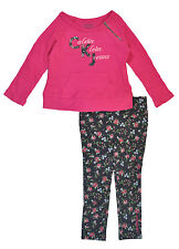 Calvin Klein Girls Pink Thermal Top & Floral Jegging Set Size 4 5 6 6X $49.50