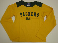 NEW Kids YOUTH REEBOK Green Bay PACKERS 1921 NFL Yellow Long Sleeve Shirt