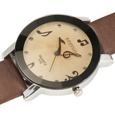 NEW Fresh Musical Note Hand Dial Women's Quartz Wrist Watch Faux Leather Band