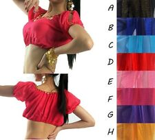 NEW Sexy Belly Dance Shinning  Costume Blouse Lantern Tops bras