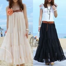 Celeb Style Pleated Chiffon Beach Skirt Tube Top Dress 2 in 1 Convertible dr080