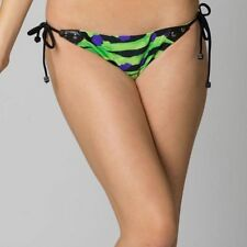 FOX RACING WOMENS SWIMWEAR CRAWL SIDE TIE BOTTOM BLACK GREEN swimsuit bikini