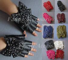 Women Half Hand 5 Finger Faux Leather Driving Evening Gloves Studded Rivet Bow