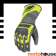 ICON MENS CITADEL WATERPROOF GLOVES MOTORCYCLE LEATHER SUMMER HI VIZ YELLOW GRAY