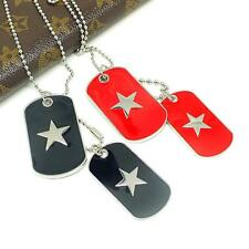 Men's Women Army Style Fiver-pointed Star 2 Dog Tags Pendant Ball Chain Necklace