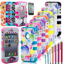 6 Type Hybrid Rugged Rubber Matte Hard Case Cover For iPhone 4G 4S w/Screen Pen