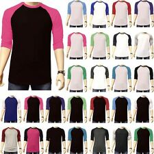 New 3/4 Sleeve Plain Baseball Raglan T-Shirt Tee Mens Sports S-3XL Team Jersey