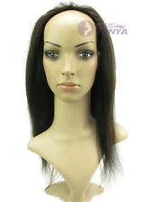 "Hot! 16"" Machine weft cap Indian Remy Human Hair Glueless Half Wig,160g"
