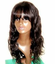 body wave indian remy human hair lace front wig with bang / fringe amazing