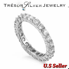 womens round cut cz sterling silver eternity wedding band ring size 5 6 7 8 9 10