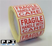 Red Fragile Handle With Care Labels On Roll Large Size, 70x40, FRA-07-ROLL